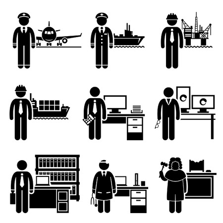 pilot: High Income Professional Jobs Occupations Careers - Air Pilot, Ship Captain, Oil Rig Engineer, Logistician, Chartered Accountant, Creative Director, Lawyer, Doctor, Judge Illustration