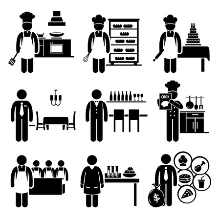 Food Culinary Jobs Occupations Careers - Cook Master Chef, Baker, Pastry, Restaurant Manager, Bartender, Cookbook Author, Cooking Class Teacher, Scientist, Franchise Stock Vector - 23866323