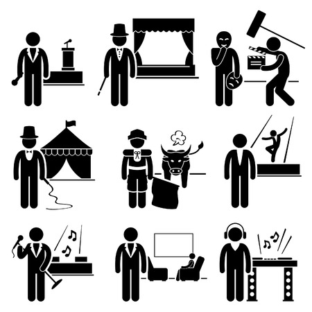 theater man: Entertainment Artist Jobs Occupations Careers - Emcee, Magician, Actor, Circus, Matador, Dancer, Singer, Talk Host, Deejay Illustration