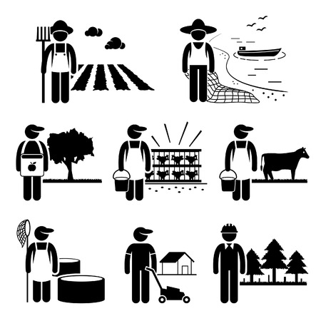 agriculture field: Agriculture Plantation Farming Poultry Fishery Jobs Occupations Careers - Farmer, Fisherman, Livestock, Gardener, Forestry - Stick Figure Pictogram Illustration