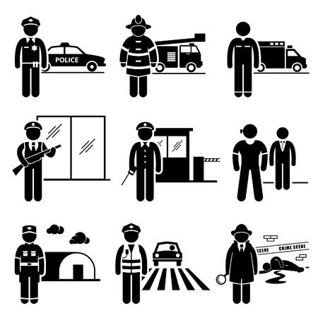 cartoon soldat: Öffentliche Sicherheit und Sicherheits Jobs Karriere Berufe - Polizei, Feuerwehrmann, EMT, Sicherheitsdienst, Wachmann, Leibwächter, Soldat, Verkehr Officer Detective - Strichmännchen-Piktogramm