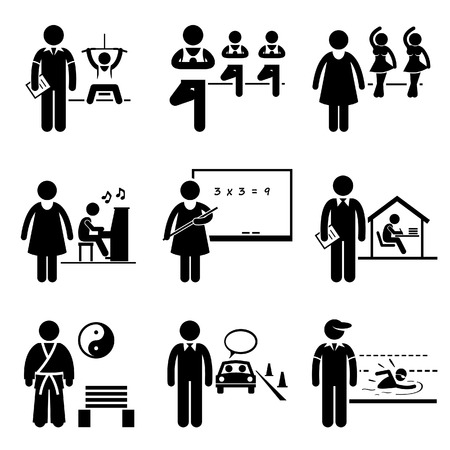 tutor: Coach Instructor Trainer Teacher Jobs Occupations Careers - Gym, Yoga, Dancing, Music, School Teacher, Home Tutor, Martial Arts, Driving, Swimming - Stick Figure Pictogram