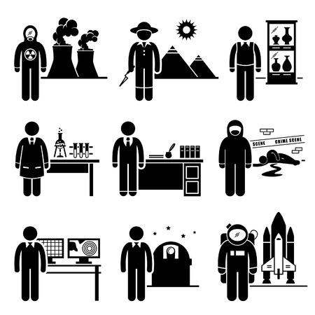科学の教授の仕事職業採用情報 - 原子力、考古学者、博物館の学芸員、化学者、歴史家、法医学、気象学者、天文学者、宇宙飛行士 - スティック図ピクトグラム 写真素材 - 24227342