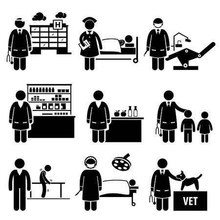 veterinarian: Medical Healthcare Hospital Jobs Occupations Careers - Doctor, Nurse, Dentist, Pharmacist, Nutritionist, Pediatric, Physiotherapist, Surgeon, Veterinarian - Stick Figure Pictogram