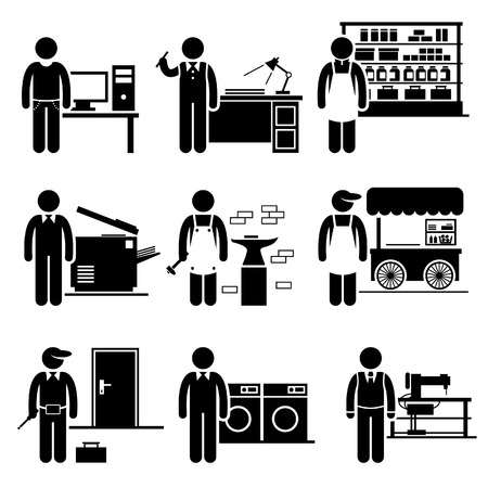 small group: Self Employed Small Business Jobs Occupations Careers - Grocer, Freelancer, Copywriter, Printing Shop, Blacksmith, Hawker, Locksmith, Laundry, Tailor - Stick Figure Pictogram