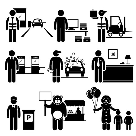 career entry: Poor Low Class Jobs Occupations Careers - Toll Booth Collector, Data Entry, Warehouse Worker, Ticket Attendant, Car Wash, Lobby Counter, Valet Parking, Mascot, Clown - Stick Figure Pictogram Illustration