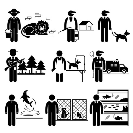 animal shelter: Animals Jobs Occupations Careers - Zookeeper, Exterminator, Dog Trainer, Wildlife Officer, Groomer, Control, Dolphin, Shelter, Aquarium - Stick Figure Pictogram