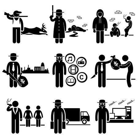 crimes: Illegal Activity Crime Jobs Occupations Careers - Poachers, Killer, Drug Dealer, Gangster, Piracy, Loan Shark, Pimps, Smuggler, Hacker - Stick Figure Pictogram