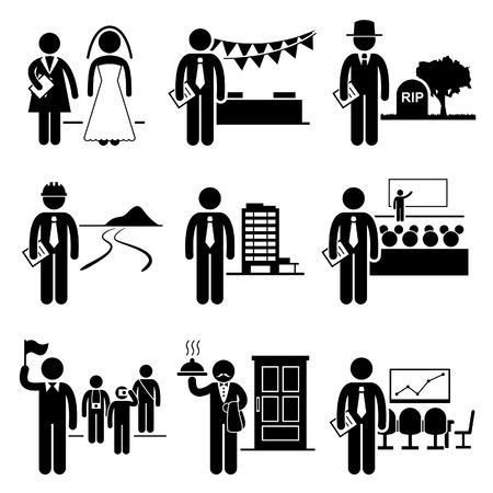event planner: Administrative Management Services Jobs Occupations Careers - Wedding Planner, Event, Undertaker, Landscaper, Property Manager, Conference, Tour Guide, Butler, Meeting - Stick Figure Pictogram