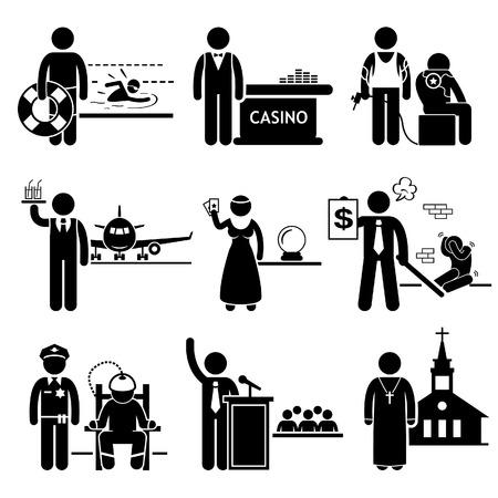 cobradores: Empleos Especial Ocupaciones Empleo - Piscina Salvavidas, Casino Dealer, Tattoo Artist, Aire Steward, Fortune Teller, cobrador de deudas, Pol�tico, Prison Warden, Priest - Stick Figure Pictograma Vectores