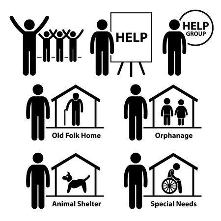 charity: Non Profit Social Service Responsibilities Foundation Volunteer Stick Figure Pictogram Icon Illustration