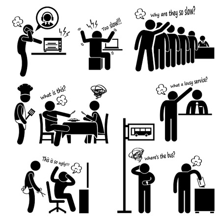 cartoon hairdresser: Angry and Unhappy Customers Complaining about Bad Services Stick Figure Pictogram Icon Illustration