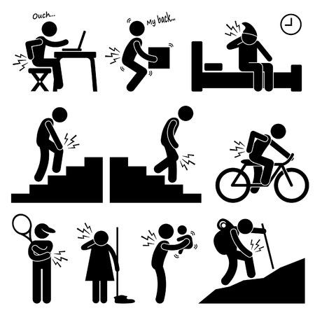 Schmerzen in menschliche Körperteile auf den verschiedenen Haltungen und Positionen Strichmännchen-Icon-Piktogramm Vektorgrafik