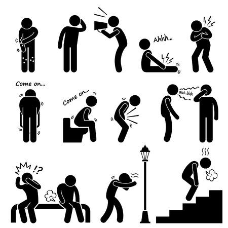 Maladie de la maladie humaine de maladie Syndrome Symptôme Signes bâton figure pictogramme Icône