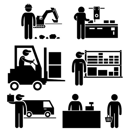 manufacturing materials: Business Ecosystem between Manufacturer, Distributor, Wholesaler, Retailer, and Consumer Stick Figure Pictogram Icon Illustration