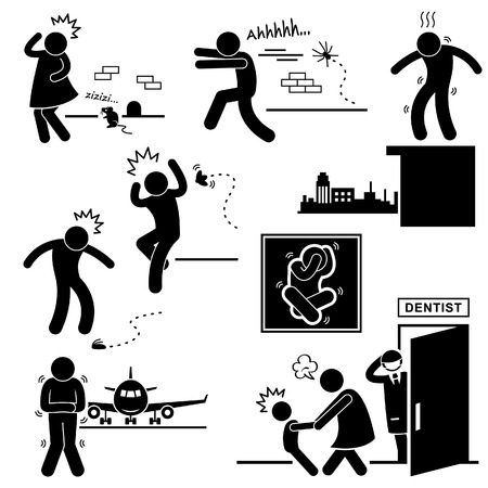 paniek: Mensen Fobie Angst Bang Bang Stick Figure Pictogram Icon