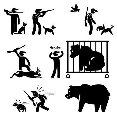 oso pardo: Cazador y perro de caza Stick Figure Pictograma Icono