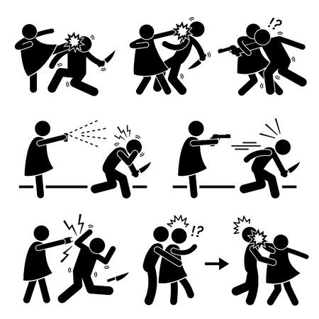 fight girl: Donna Femminile Ragazza Self Defense Stick Figure pittogramma Icon Vettoriali