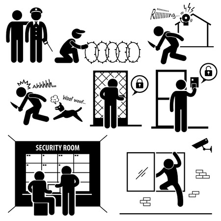 defense equipment: Sistema de seguridad Stick Figure Pictograma Icono Vectores