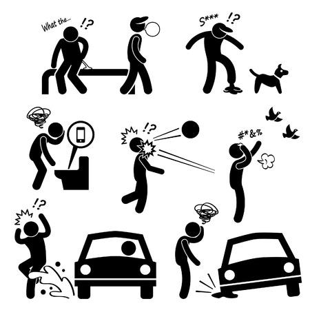 Unlucky Man Bad Luck Mensen Karma Stick Figure Pictogram Icon Stock Illustratie