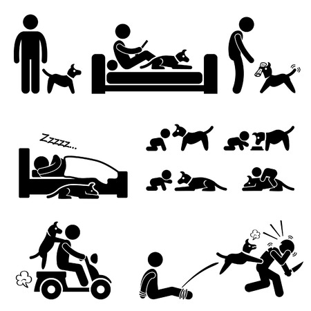 Man and Dog Relationship Pet Stick Figure Pictogram Icon Vector