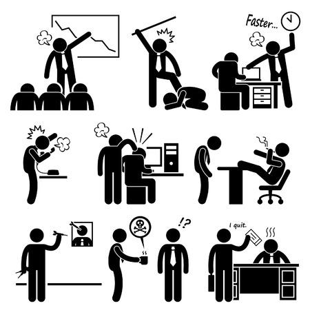jefe enojado: Protuberancia enojada que abusa del Empleado Stick Figure Pictograma Icono Vectores