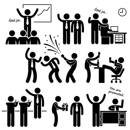 happy employee: Happy Boss Rewarding Employee Stick Figure Pictogram Icon