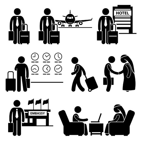 airplane cartoon: Business Trip Businessman Travel Meeting Stick Figure Pictogram Icon