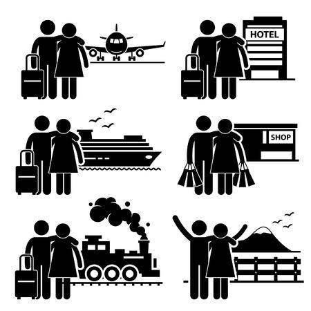 bagagli: Coppia Lover Honeymoon Holiday Vacation Stick Figure pittogramma Icon Vettoriali
