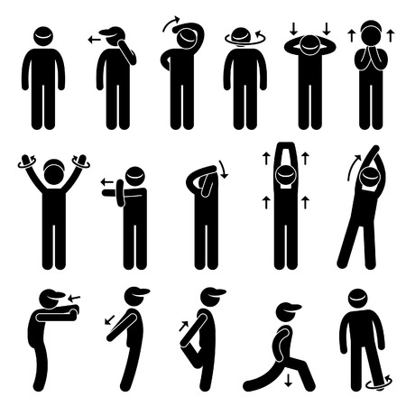 head and shoulders: Body Stretching Exercise Stick Figure Pictogram Icon