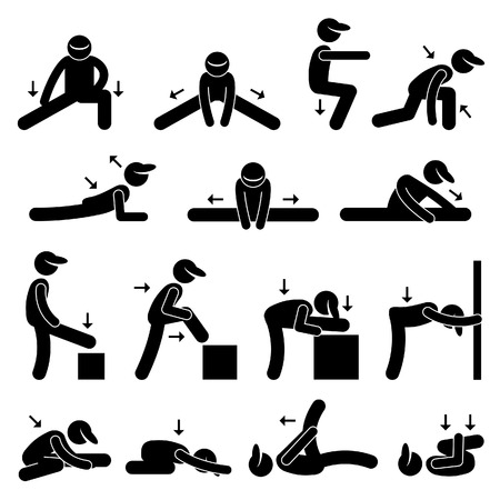 exercise cartoon: Body Stretching Exercise Stick Figure Pictogram Icon