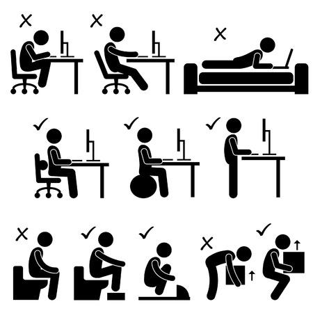 Gute und schlechte Körperhaltung Menschenstrichmännchen-Icon-Piktogramm Vektorgrafik