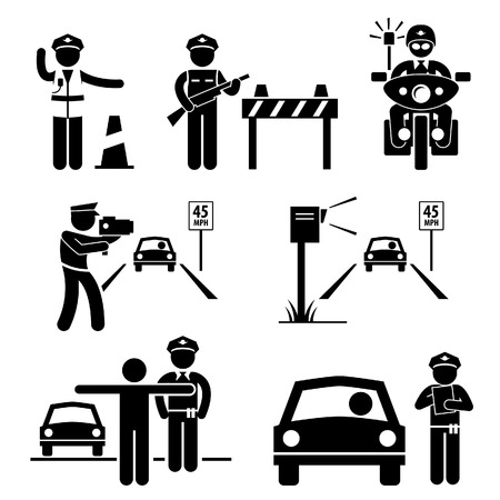 Politieman Verkeer op Duty Stick Figure Pictogram Icon Stock Illustratie