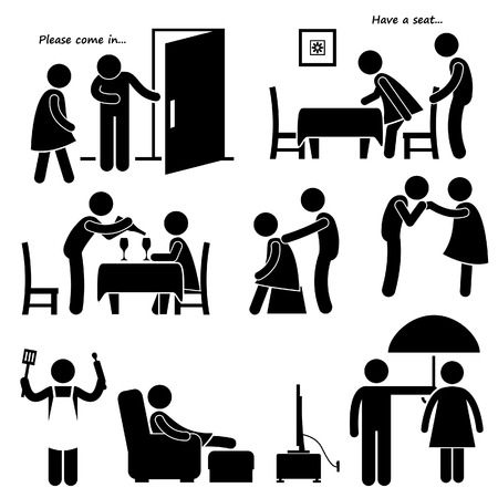 Gentleman Courteous Man Boyfriend Husband Stick Figure Pictogram Icon Vector