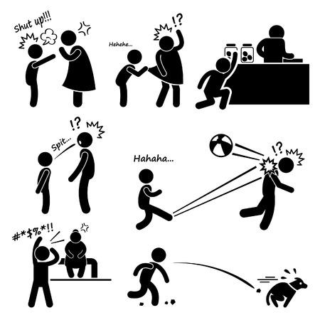 버릇 나쁜 버릇없는 반항 어린 아이 아이 소년 스틱 그림 픽토그램 아이콘