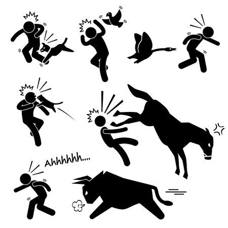 dog bite: Attaccare un animale domestico Danneggiare Stick umana Figura pittogramma Icon Vettoriali