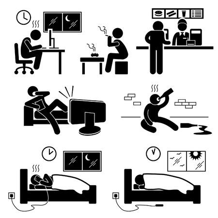 strichmännchen: Ungesunde Mangel Lifestyle Habit Strichmännchen-Icon-Piktogramm