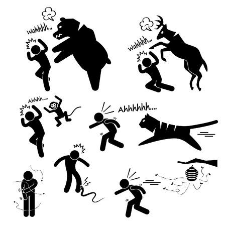 Attaccare selvatico animale Danneggiare Stick umana Figura pittogramma Icon Vettoriali