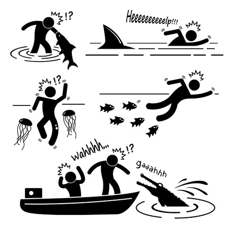 Water Sea River Fish Animal Attacking Hurting Human Stick Figure Pictogram Icon