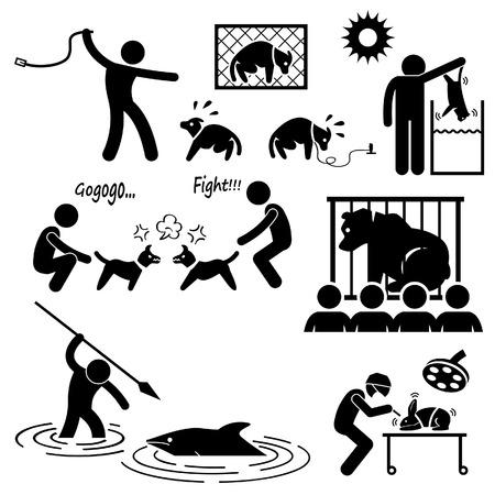 pelea: Crueldad Animal abuso por Stick Figure Pictograma Icono Humano Vectores