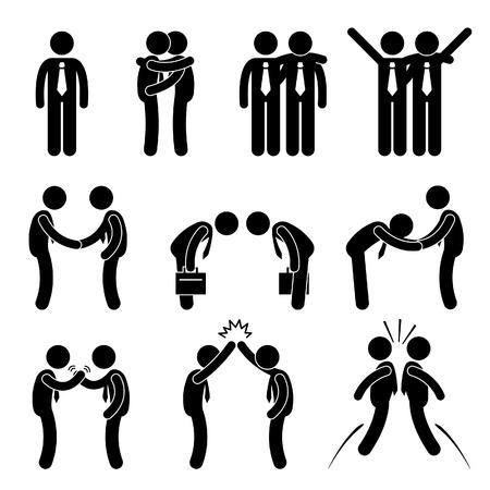 ビジネス方法の挨拶ジェスチャー スティック図絵文字アイコン
