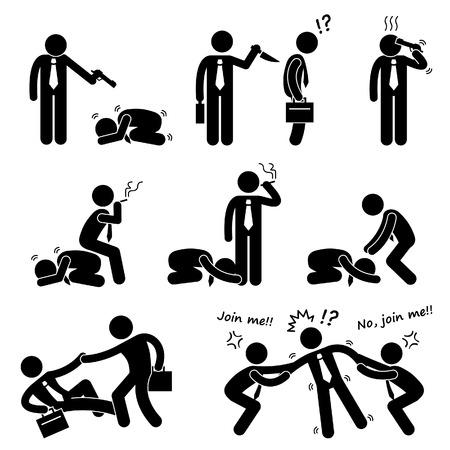 humility: Negocios Bullying Backstab Competencia Stick Figure Pictograma Icono