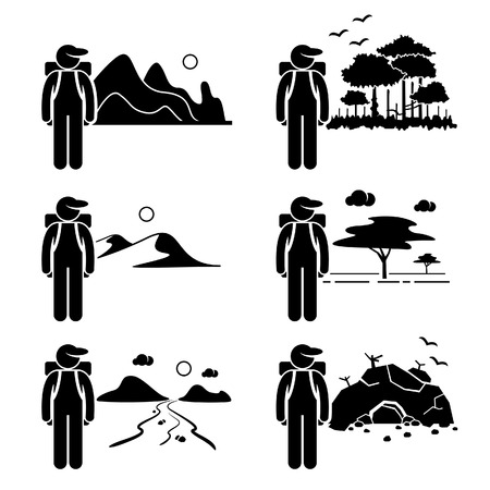 Explorer Adventure at Mountain Rainforest Desert Savanna River Cave Stick Figure Pictogram Icon Vector