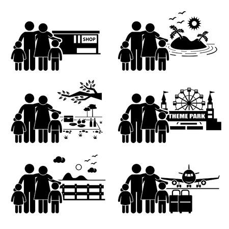 家族での休暇旅行の休日レクリエーション活動スティック図絵文字アイコン  イラスト・ベクター素材