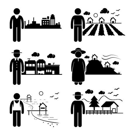 La gente en la ciudad de Cottage Casa Pequeña Ciudad Highlands Seaside Village Home Stick Figure Pictograma Icono