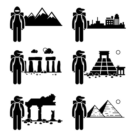 Explorer Adventure at Snow Mountain City Ancient Ruins Stone Temple Egypt Pyramid Stick Figure Pictogram Icon Vector
