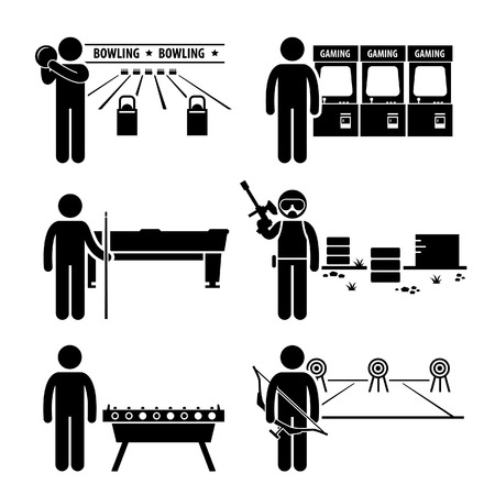 Recreatieve Leisure Games - Bowling, Arcade Center, zwembad, Paintball, Voetbal Tafel, Boogschieten - Stick Figure Pictogram Icon Clipart