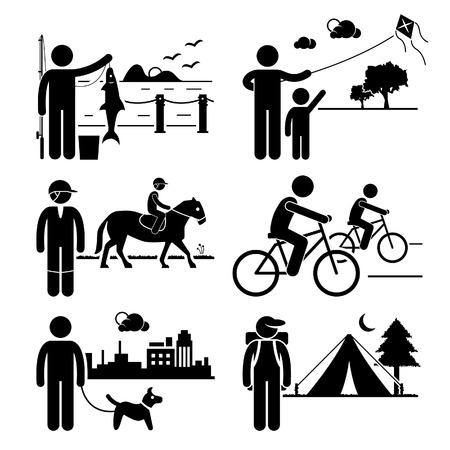 Freizeit-Outdoor-Freizeitaktivitäten - Angeln, Drachen, Reiten, Radfahren, Hund Spazierengehen, Camping - Strichmännchen-Piktogramm Symbol Clipart
