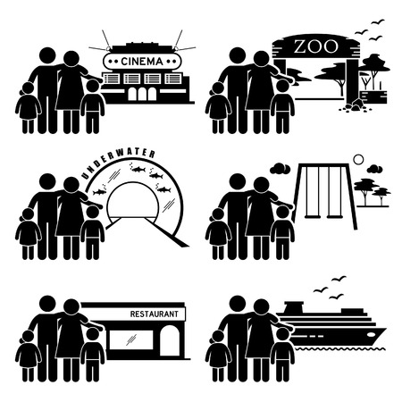 recreation:  Family Outing Activities - Cinema, Zoo, Underwater Theme Park, Playground, Restaurant Dining, Holiday Cruise Ship - Stick Figure Pictogram Icon Clipart