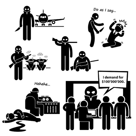 Hijacker Terrorist Airplane Stick Figure Pictogram Icon Clipart Vector